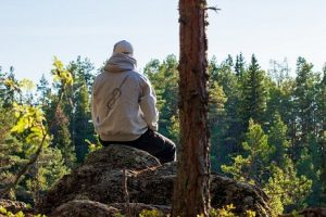a man sits on a rock over looking trees in a hooded sweatshirt