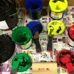 Show a large group of colors of ink.